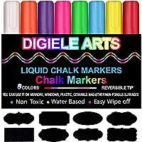 Pennarelli Gesso Liquido di DIGIELE, 8 Colori Assortiti Brillanti con 32 nero etichette adesive, Punta reversibile 6mm…