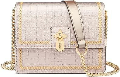 FOXER Leder-Schulterkette Taschen für Frauen, Saffiano Leder Damen kleine Crossbody Taschen mit Hardware Lock Dekoration Damen Mini Handy börsen Damen Casual Clutch börse (Gold)