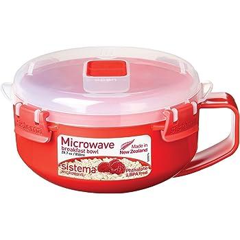 Sistema Microwave Breakfast Bowl, 850 ml - Red/Clear