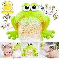 HengGL Baby Bath Bubble Toys, Automatic Frog Bubble Maker Kids Bath Bubble Machine with 12 Music Baby Fun Bath Toys