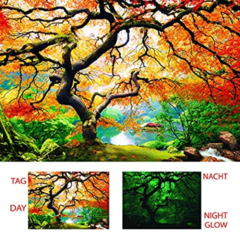 Startoshop Canvas Wall Art Maple Tree, Nature Glow in the Dark, Dual View Surprise Artwork Modern Framed Ready to Hang Wall Art 100% Original Art Painting 80 x 120 cm