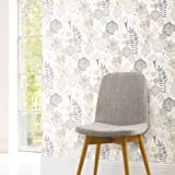 RoomMates RMK11326WP Beige Perennial Blooms Peel and Stick Wallpaper
