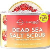 Gommage Exfoliant Naturel pour Visage, Corps et Pieds au Sel de la Mer Morte et Pamplemousse Anti Cellulite, Vergetures…