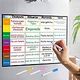 Aoweika Planificador Semanal Tablero del Frigorífico (42x30cm) con 4 Colores Pluma para Pizarra- Pizarra Magnética en Español