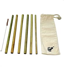 Reusable Bamboo Straws: Pack of 6-100% Biodegradable, Natural, Chemical-free