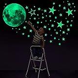 Konsait Leuchtsticker Wandtattoo, 435pcs Leuchtsterne Punkten und Mond Wandsticker Wandaufkleber DIY für Schlafzimmer Jungen