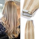 Extension Capelli Veri Adesive 100g 40 Ciocche Biadesive Capelli Naturali con Biadesivo Meches Tape Hair Extensions Remy Human Hair (45cm #18/613 Beige/Biondo Chiarissimo)