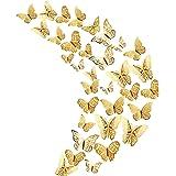 36 Stks Goud 3D Vlinder Muurstickers, Metallic Art Sticker, Vlinder Muurstickers voor Home Decor Vlinders Koelkast Sticker Ka