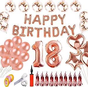 Shuibian 18 Geburtstag Dekoration Rose Gold Dekoration Happy Birthday Ballons Happy Birthday Banner Geburtstagsdeko Für Mädchen Und Jungen Küche Haushalt
