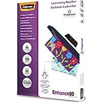 Fellowes Pochettes de plastification 80 microns A4, pack de 100 pochettes, haute qualité, finition brillante, 5306114