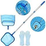 "Recogehojas de Piscina,Aiglam Swimming Pool Skimmer Net, Fine Mesh Leaf Skimmer & Deep Bag with 45"" 3-Section Telescopic Pole"