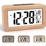 DTKID Réveil numérique en Bois à réglage Facile avec température, Date, rétro-éclairage, répétition, pour Chambre à Coucher,