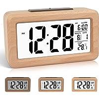 DTKID Réveil numérique en Bois à réglage Facile avec température, Date, rétro-éclairage, répétition, pour Chambre à…