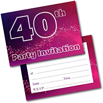 Doodlecards 40th Birthday Party Invitations Female Invites Pack Of 20 Postcards And Envelopes