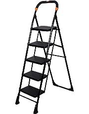 Magna Homewares Pollux 5 Step Folding Ladder, Black, Large