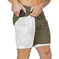 Yuson Girl Pantaloncini Sportivi da Uomo 2 in 1 Estate Sport e Allenamento Pantaloni con Tasche Pantaloncini Asciugatura…