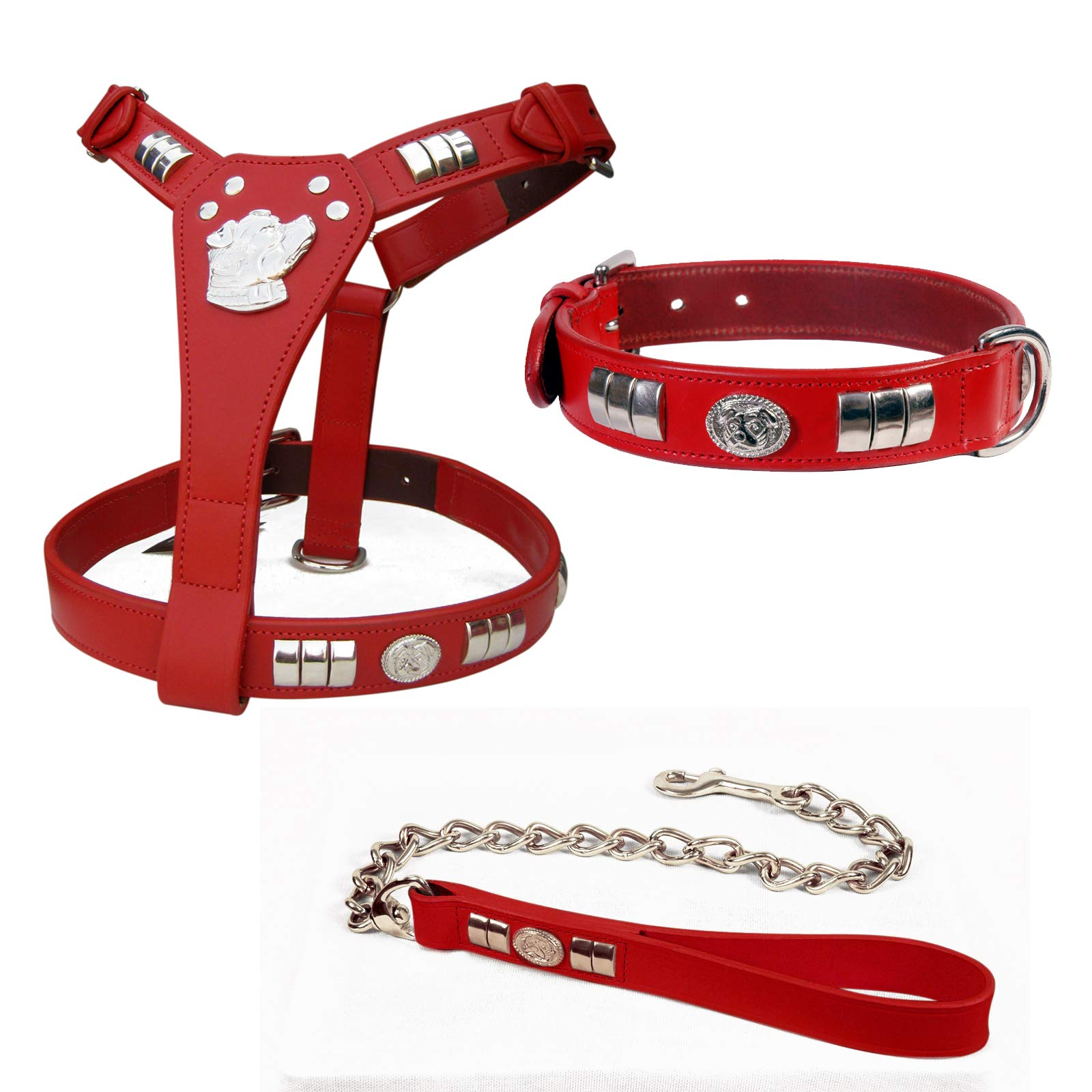 Aces Equine RED COLOR STAFFORDSHIRE BULL TERRIER DOG HARNESS, COLLAR AND CHAIN LEAD SET STAFFY DOG FACE SILVER (CHROME)