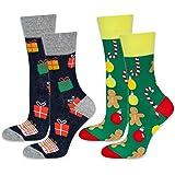 soxo Calcetines Navideños de Colores para Hombre 2 Pares | talla 40-45 EU | Set de Calcetines con Dibujos Originales | Divert