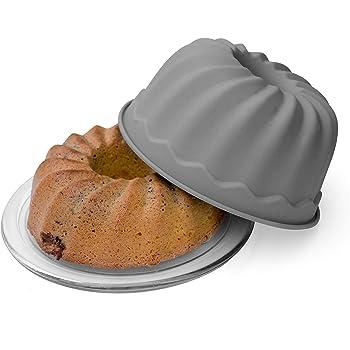 BackeFix ring cake per ciambellone forma torta del silicone antiaderente ,  Stampo Budino grigio Ø 23cm
