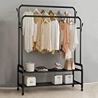 Home Cloud Cloth stand   Garment rack   Multipurpose Dual Rod + Wheels coat Rack with Bottom Shelf   for Coat Jacket…