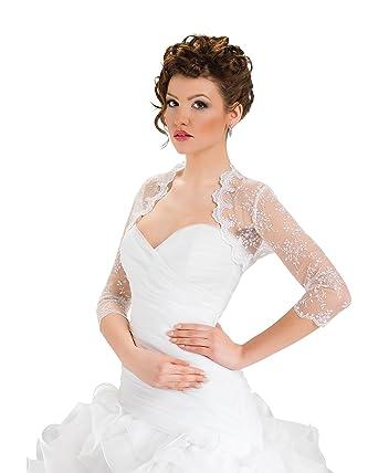 Women Wedding Top Bridal Lace Bolero Shrug Jacket Three Quarter ...