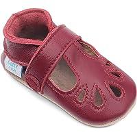 Dotty Fish Chaussures bébé en Cuir Souple. Sandales T-Bar. Chaussons antiderapant Bebe. Filles. 0-6 Mois à 2-3 Ans
