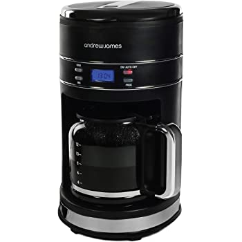 Andrew James Filter Coffee Machine   Lumiglo Coffee Maker   1.5 Litre   Reusable Filter   LCD Display   Matt Black with Blue LED Lights