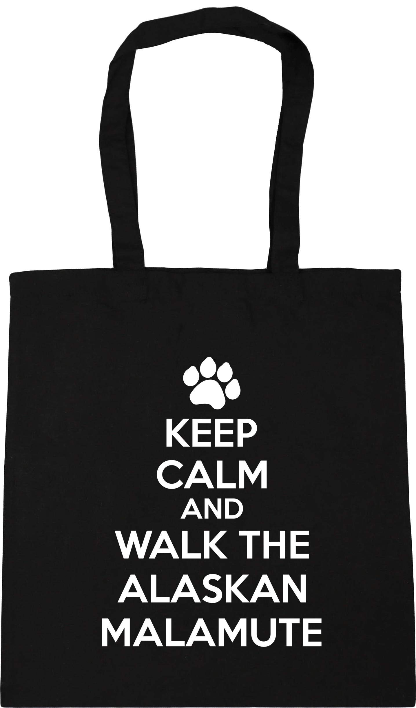 Hippowarehouse Keep calm and walk the alaskan malamute – dog Tote Shopping Gym Beach Bag 42cm x38cm, 10 litres