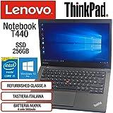"""Lenovo ThinkPad T440 Intel Core i5-4300U 8GB RAM Scheda Video Intel HD SSD 256GB Display 14"""" HD Win 10 Pro MAR Nero…"""