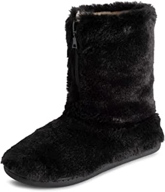 Polar Womens Memory Foam Zipper Faux Fur Covered Rubber Sole Indoor Outdoor Cosy Luxury Boot Slippers