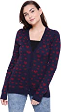 MansiCollections Dark Blue Heart Knitted Cardigan for Women