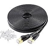 YOREPEK Cable Ethernet Cable De Red Cat 7 15 Metros Plano Network LAN Cable Cat7 10 Gigabit 600Mhz Cat 7 Ethernet 15M con Con