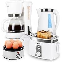 Klarstein Sunday Morning Set petit-déjeuner avec bouilloire, cafetière, grille-pain et cuiseur à oeufs