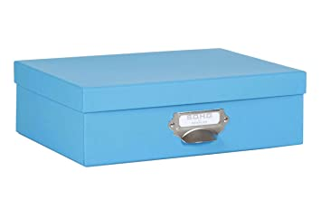 rössler soho boîte de rangement pour papier avec poignée bleu a4