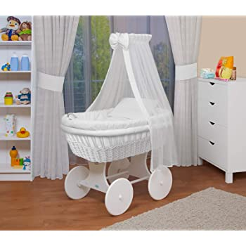 DELUXE DRAPE WICKER CRIB MOSES BASKET BASSINET SOLID WOOD ...