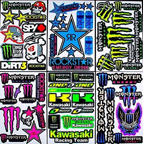 * 6 BLATT AUFKLEBER VINYL nTV/ MOTOCROSS STICKERS BMX BIKE PRE CUT STICKER BOMB PACK METAL ROCKSTAR ENERGY SCOOTER - Monster Aufkleber Sticker