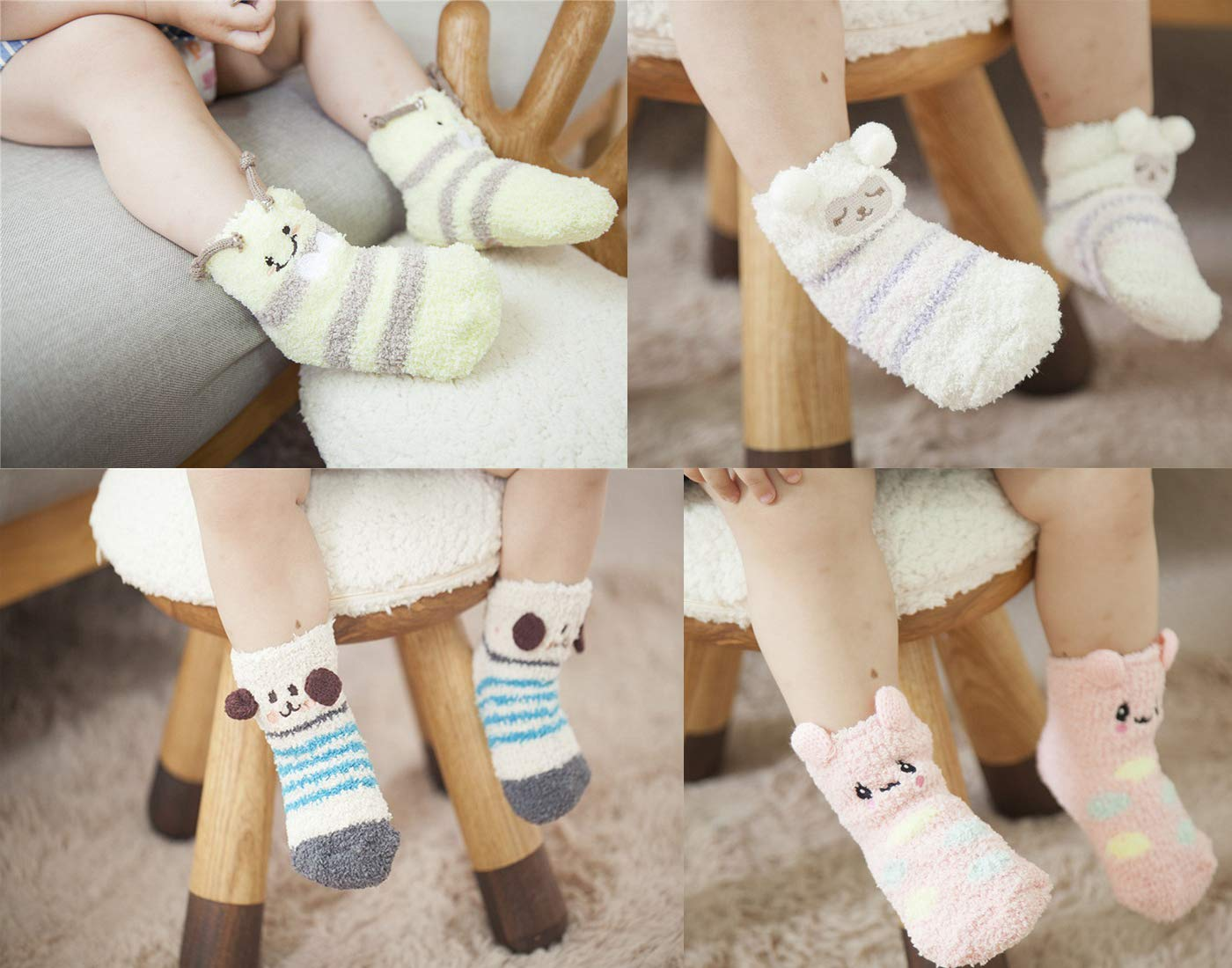 Z-Chen Pack de 6 Pares Calcetines Antideslizantes de Invierno para Bebé Niños Niñas Infantil, Set B, 1-3 Años 4