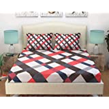 Ab Home Decor Cotton Elastic Fitted Bedsheet for Queen Size/Double Bed with Two Pillow Covers-