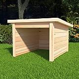 yorten Garage voor robotmaaier garage robotgarage houten garage massief grenenhout natuur 92 x 104 x 59,5/54,5 cm (l x b x h)