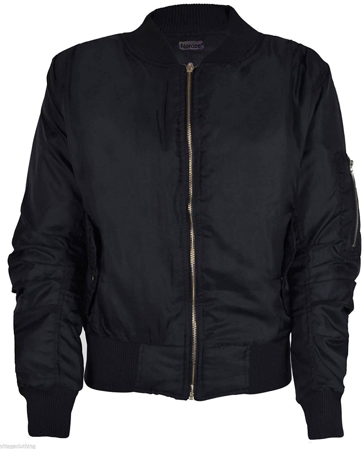 Ladies MA1 Classic Padded Bomber Jacket Womens Vintage Zip Up ...