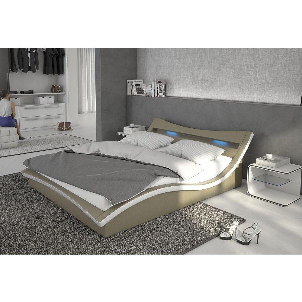 Designer bett led  Polster-Bett 140x200 cm orange aus Kunstleder mit blauer LED ...