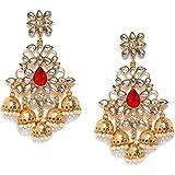 Zaveri Pearls Kundan Dangler Earrings for Women (Golden)(ZPFK8604)