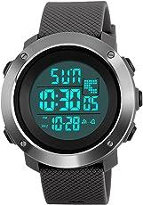 Digitale Sportuhr, militärische Outdoor Uhr für Männer Wasserdichte LED wasserdicht Uhren elektronische Gegenlicht 50M wasserdicht Stoppuhr Alarm - Grau