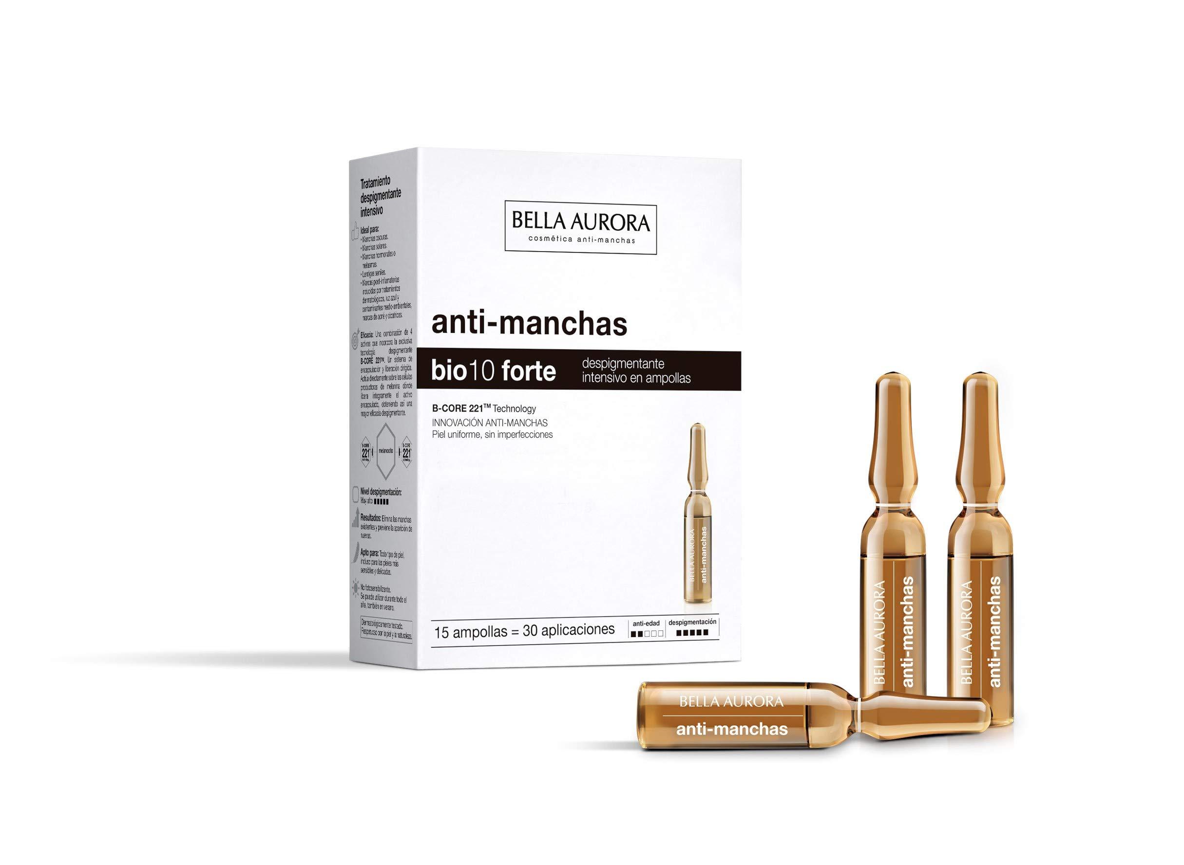 Bella Aurora Bio10 Tratamiento Despigmentante Facial Intensivo en Ampollas | Anti-Manchas, 15 Ampollas