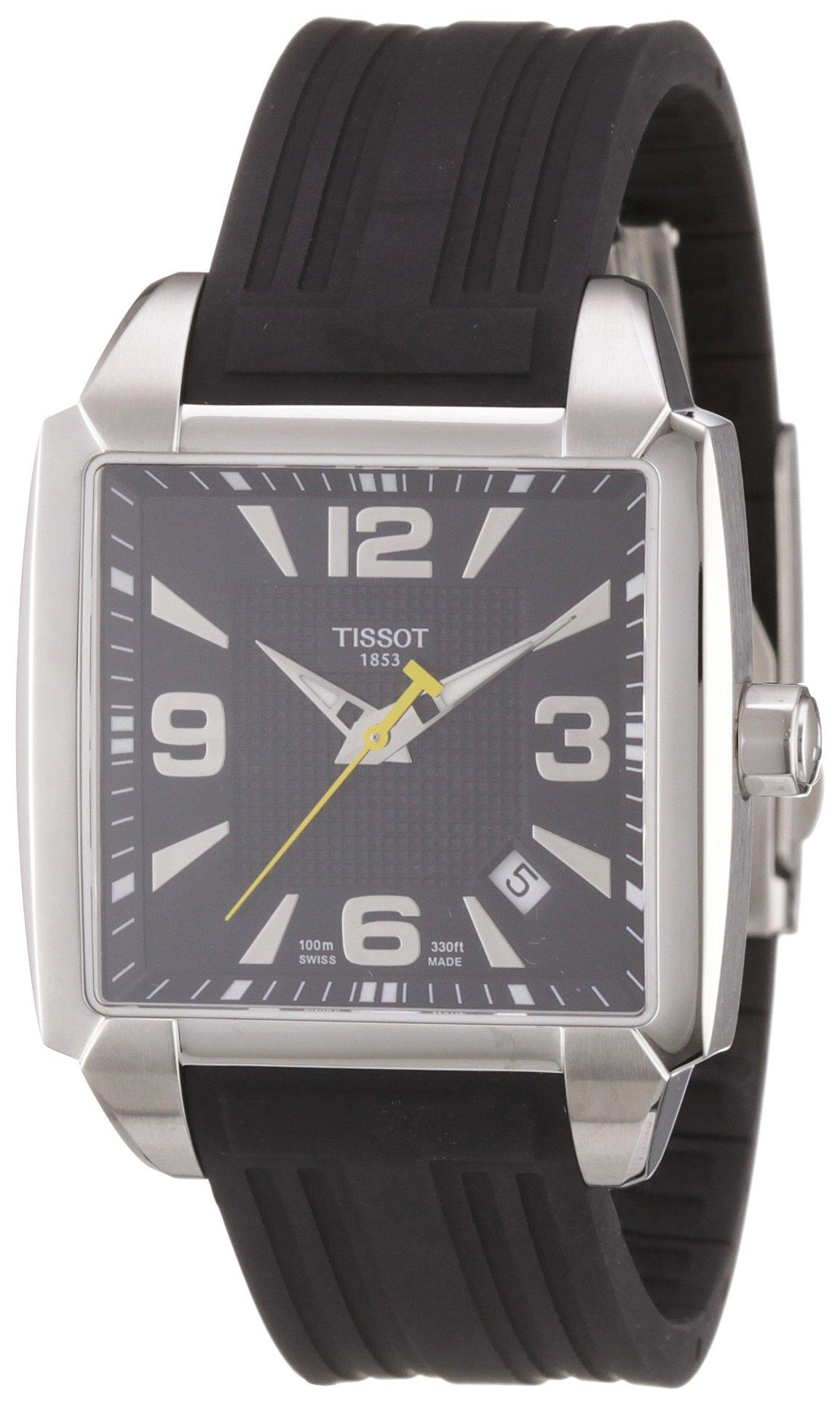 Tissot T QUADRATO – Reloj analógico de caballero de cuarzo con correa de goma negra