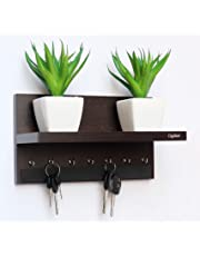 Captiver Display 7 Hook Wall Mounted Wooden Key Holders with Shelf Wenge/Decorative Multipurpose Hanging Rack