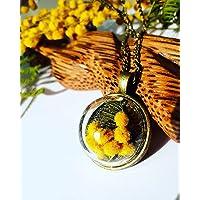 Ciondolo boccia di vetro e mimosa, Collana bolla botanica, Ciondolo con fiori veri, Gioielli terrario, Gioiello festa…