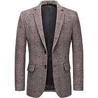 Allthemen Mens Casual Blazer Slim Fit Tweed Check Suit Jacket Plaid Suits Blazer Coat One Button Suits Tuxedo