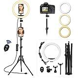 VEVICE Luce ad Anello LED con Stativo Treppiede, 10 pollice Selfie Ring Light Alta con Supporto Telefonico, Telecomando, 3 Mo