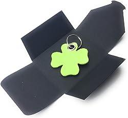 filzschneider Schlüsselanhänger aus Filz - Glück/Kleeblatt - lind-grün/hell-grün - als besonderes Geschenk mit Öse und Schlüsselring - Made-in-Germany